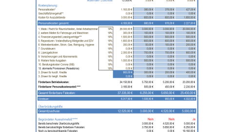 Überbrückungshilfe Unternehmen Kalkulationstool