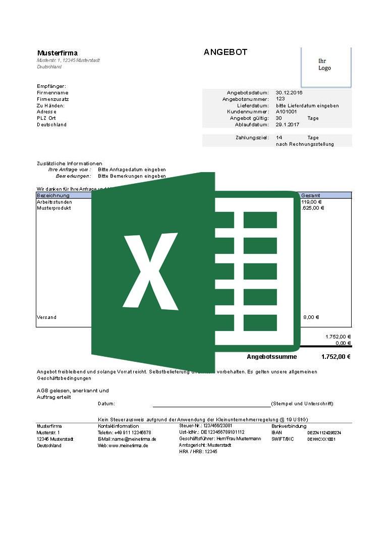 247concepts Kostenlose Angebotsvorlagen Excel 247 Concepts