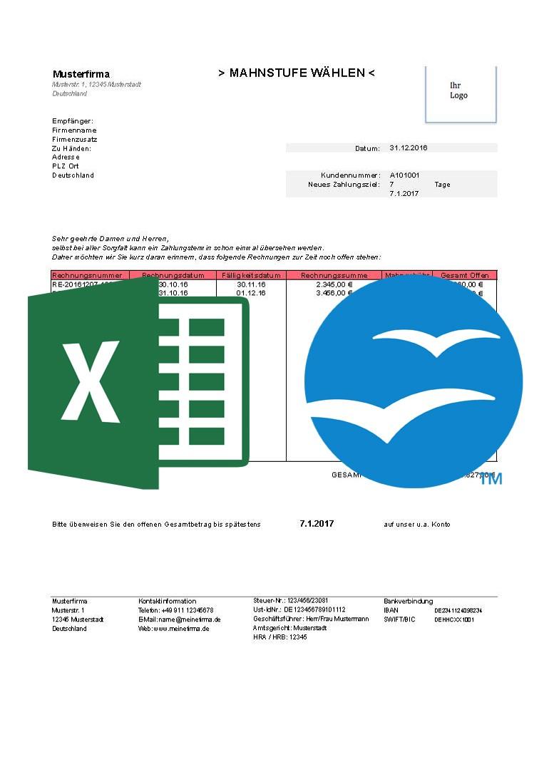 247 Concepts Kostenlose Mahnungsvorlagen Excel Open Office