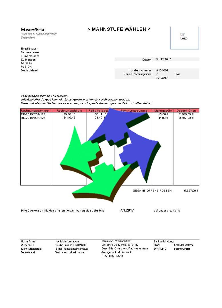 Kostenlose Mahnungsvorlagen Für Excel Und Open Office