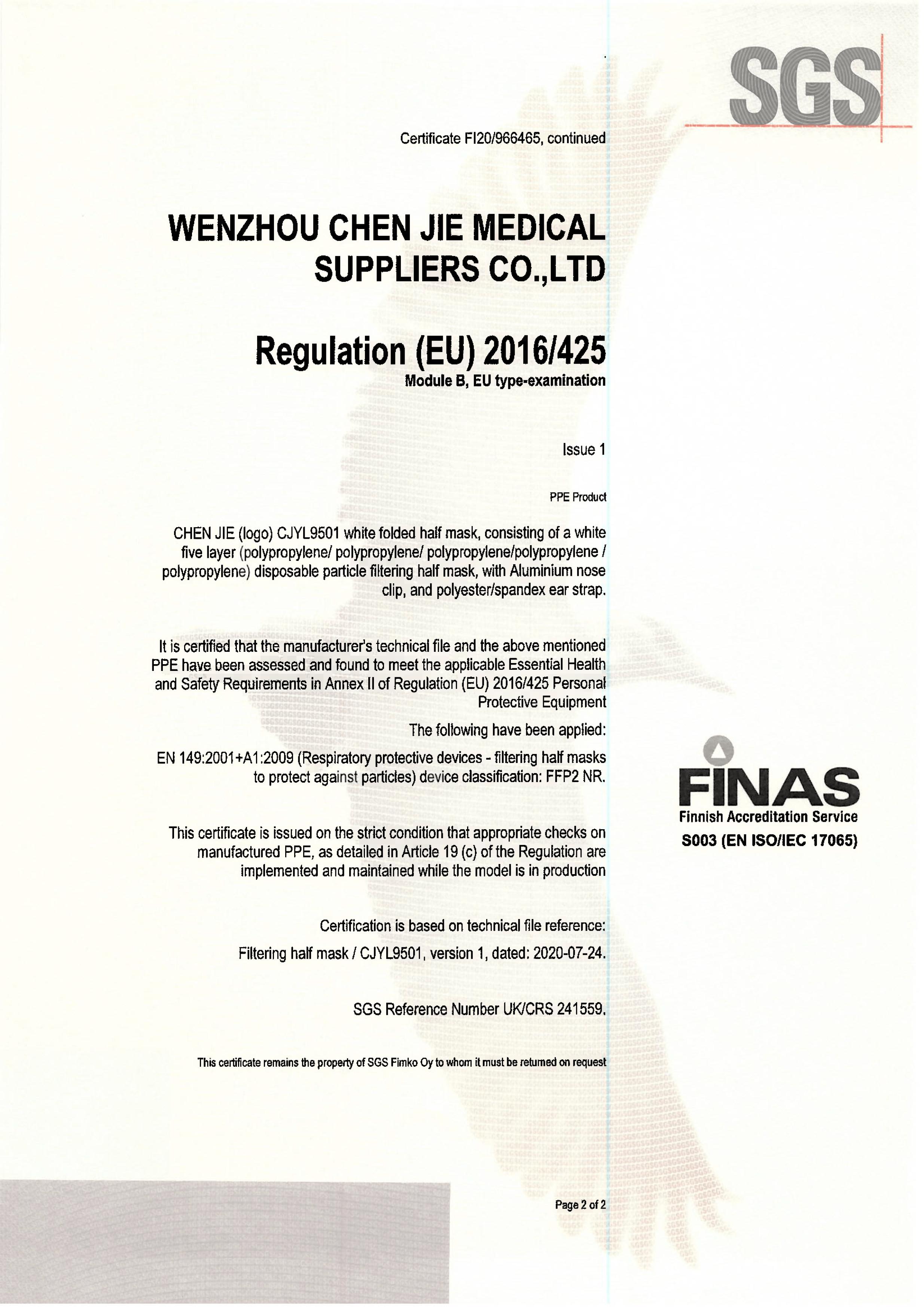 ChenJie FPP2 CE Zertifikat Teil2-2